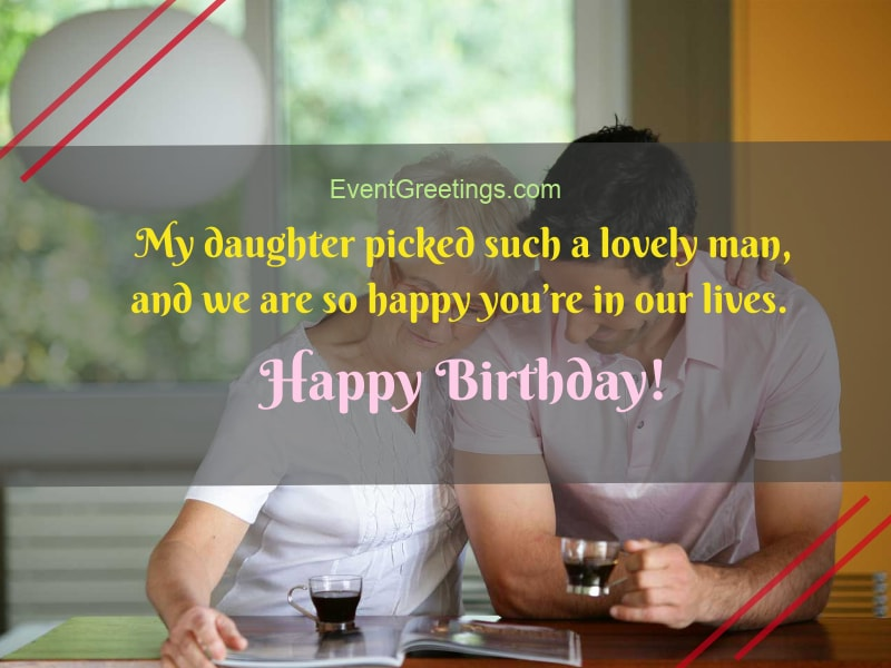 Congratulations on his birthday to his son-in-law