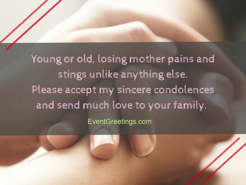 message of condolence to a friend who lost her mother