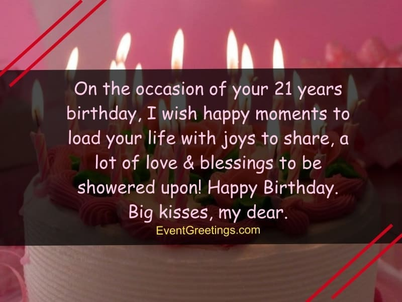 Nice And Sweet Wishes For 21st Birthday