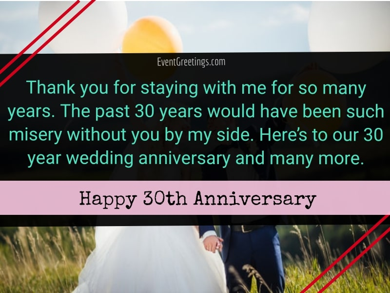 30 Year Wedding Anniversary