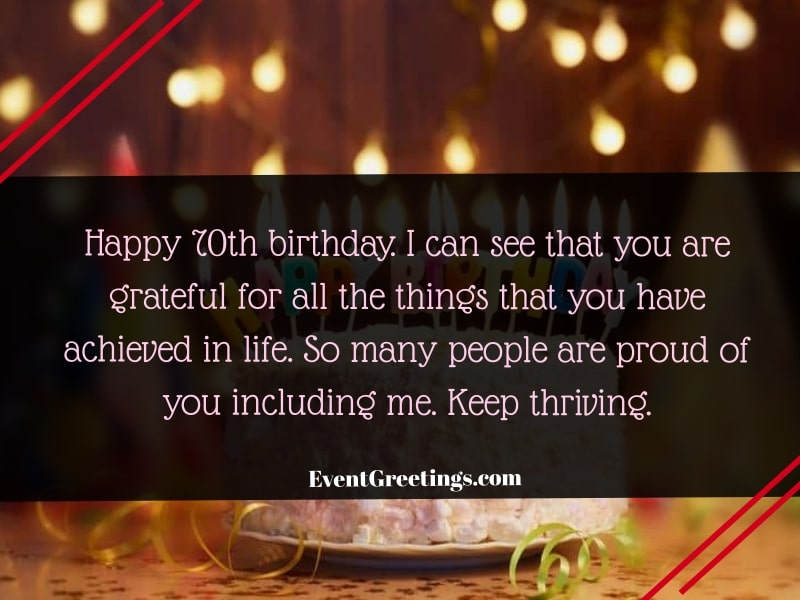 70th Birthday Wishes