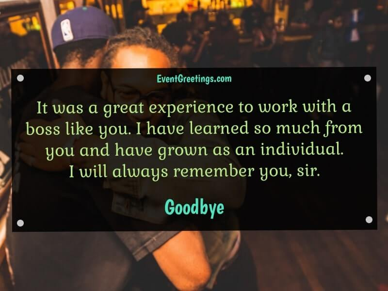Farewell Message to Boss Who is Leaving